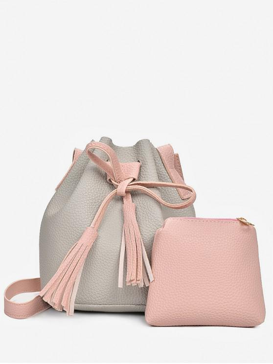 shops 2 in 1 Faux Leather Two Tone Bucket Bag - GRAY CLOUD