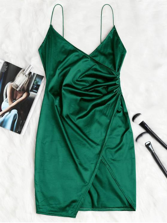 chic Cami Draped Crossover Slip Party Dress - MEDIUM SEA GREEN L