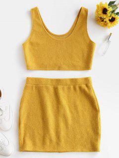 ZAFUL Crop Top And Mini Skirt Ribbed Knitwear Set - Bee Yellow L