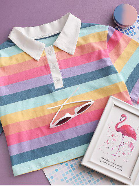hot Rainbow Striped Half Button Crop Tee - MULTI M Mobile