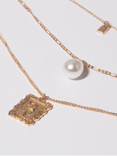 Многослойное Ожерелье С замком С жемчугом Подвеска цветка - Золотой  Mobile