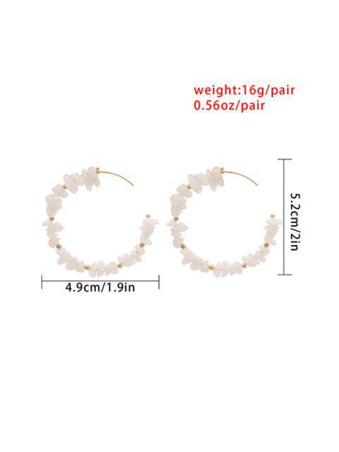 Boucles d'Oreilles Perlées Ouvertes avec Pierre Naturelle - Blanc  Mobile