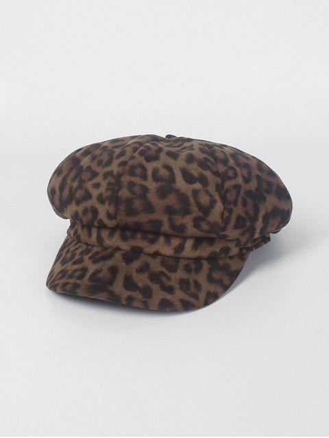 outfit Retro Leopard Print Octagonal Hat - GRAY  Mobile