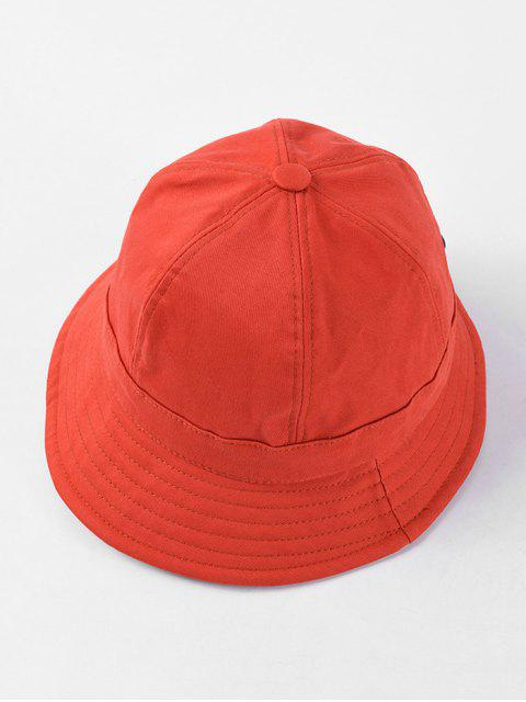 women's Adjustable Folding Round Bucket Hat - RED  Mobile