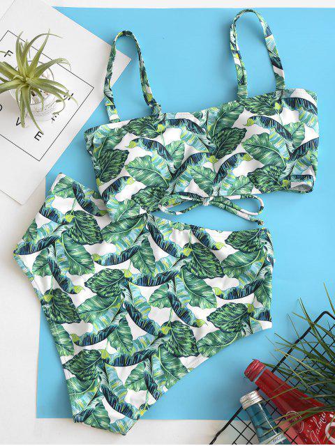 ZAFUL Maillot de Bain Bikini Feuille Palmier à Taille Haute à Volants - Vert Pin S Mobile