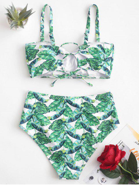 womens ZAFUL Palm Leaf Ruched High Waisted Bikini Swimsuit - PINE GREEN L Mobile