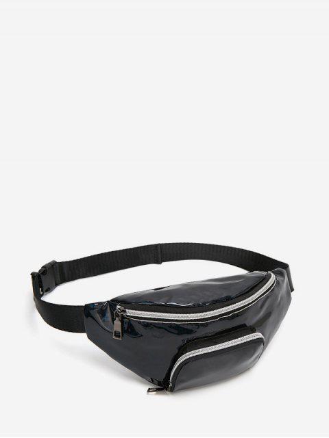 雙口袋玻璃破碎斜挎包胸袋 - 黑色  Mobile