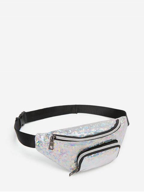 雙口袋玻璃破碎斜挎包胸袋 - 銀  Mobile