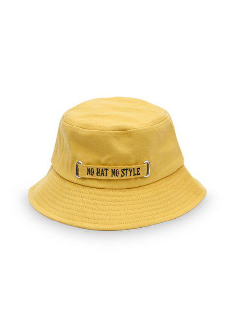 sale Casual Letter Embroidery Bucket Hat - YELLOW  Mobile