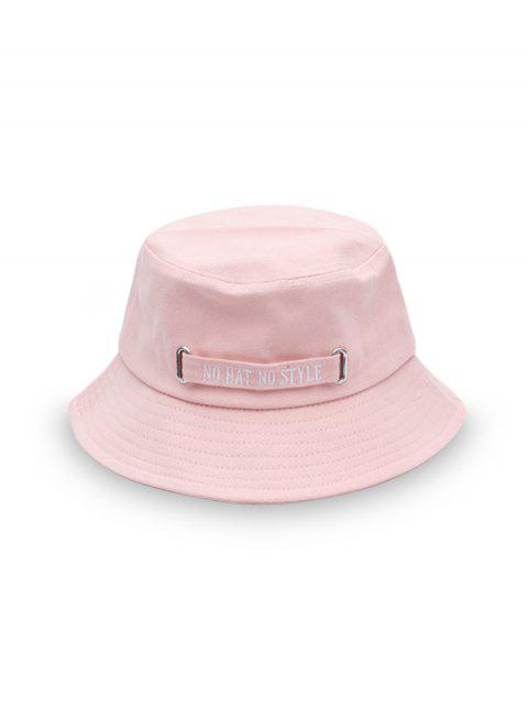shops Casual Letter Embroidery Bucket Hat - PINK  Mobile