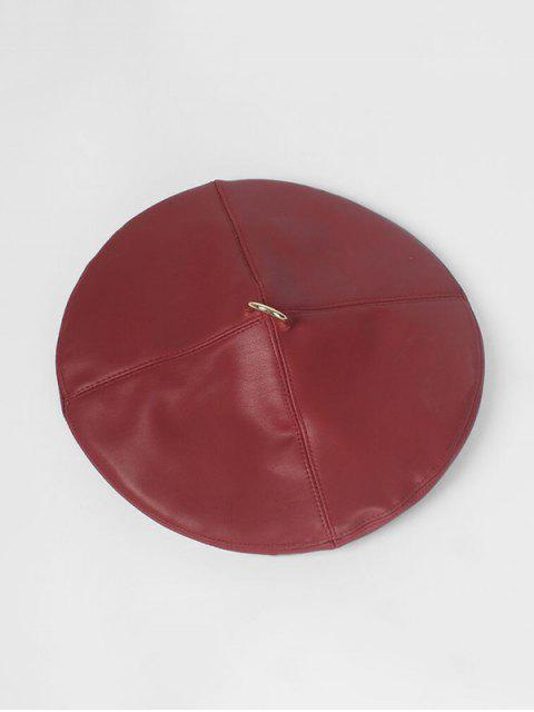 latest D-ring Faux Leather Folding Beret Cap - RED  Mobile