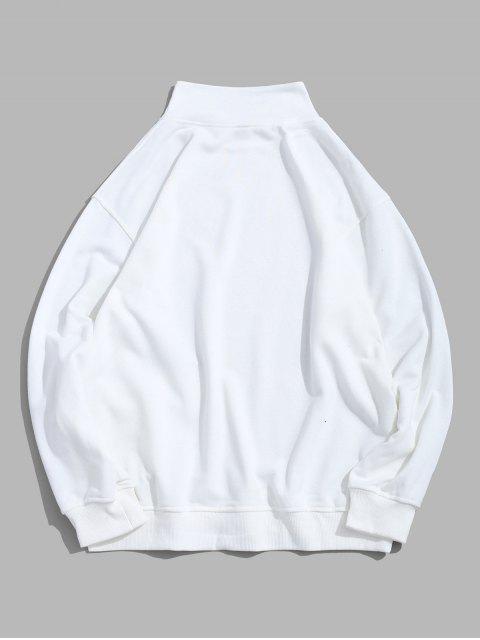 字母印花翻蓋口袋純色休閒運動衫 - 白色 4XL Mobile