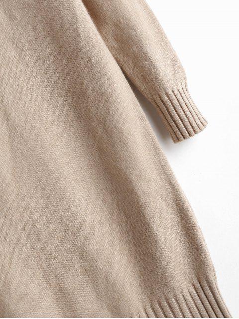 Pull Long Manches Raglan à Col Montant - Marron Camel Taille Unique Mobile