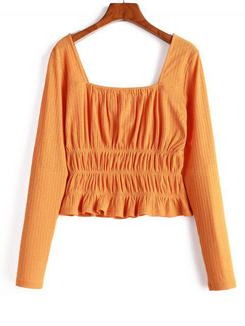 new ZAFUL Knitted Smocked Square Neck T-shirt - SANDY BROWN S Mobile