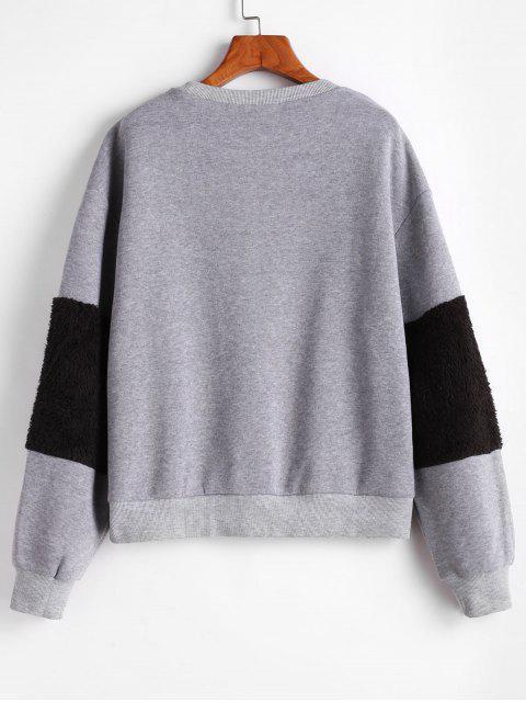 ZAFUL植絨蓬鬆袖雙色露肩運動衫 - 深灰色 S Mobile