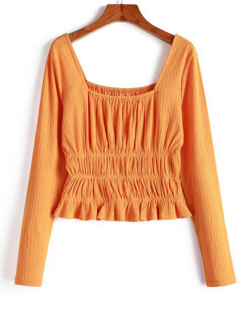 unique ZAFUL Knitted Smocked Square Neck T-shirt - SANDY BROWN M Mobile