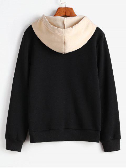 ZAFUL圖形植絨連帽衫 - 黑色 M Mobile