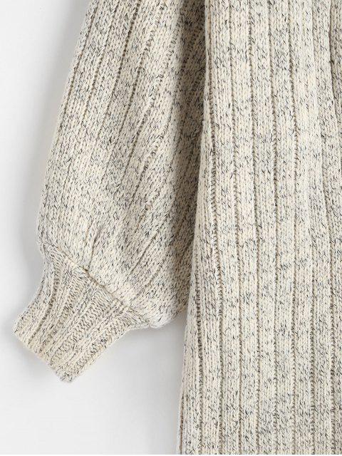 Cardigan Long Côtelé en Tricot à Goutte Epaule - Gris Taille Unique Mobile