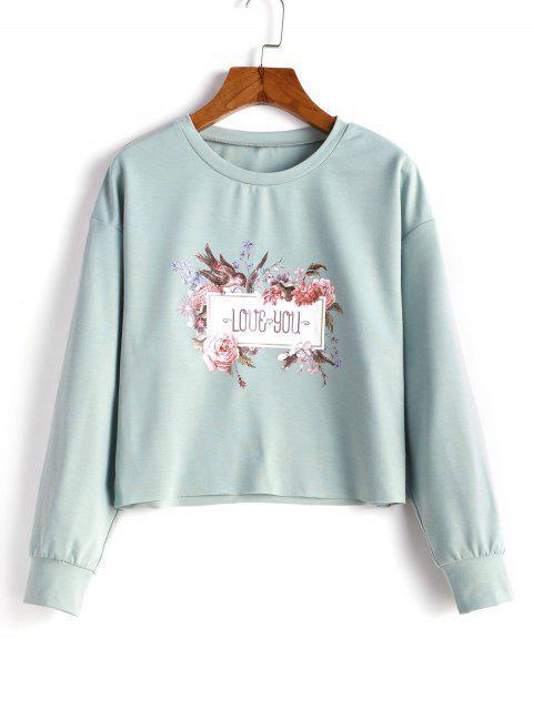 ZAFUL原始下擺花卉圖形運動衫 - 青色不透明 XL Mobile