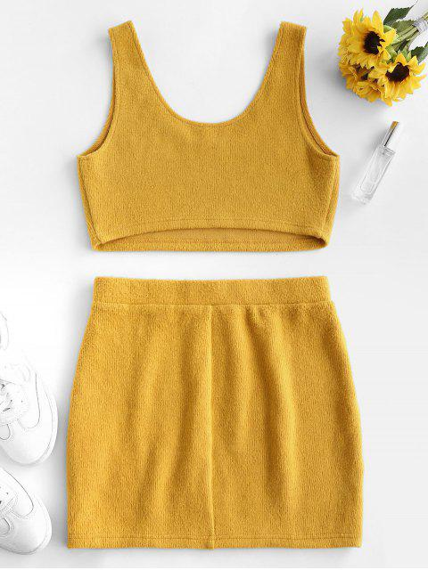 hot ZAFUL Crop Top and Mini Skirt Ribbed Knitwear Set - BEE YELLOW L Mobile