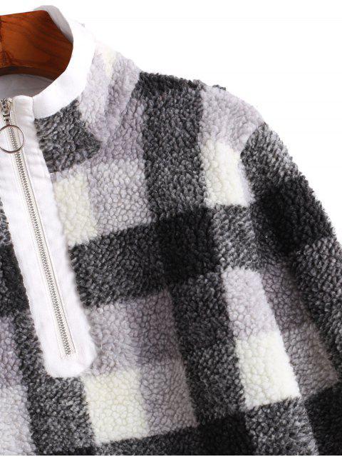 ZAFUL格子半拉鍊高領蓬鬆運動衫 - 多 XL Mobile