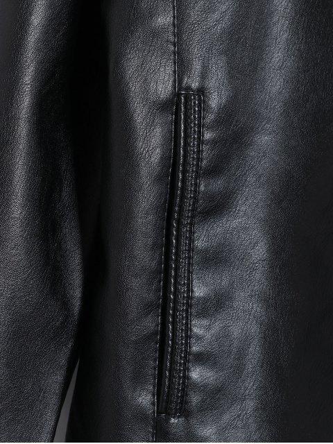 unique Faux Leather Star Design Solid Color Jacket - BLACK S Mobile