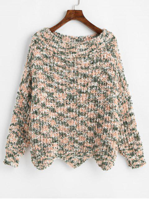 outfits ZAFUL Wave Hem Contrast Chunky Sweater - MULTI S Mobile