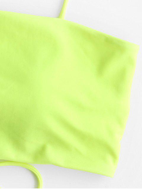ZAFUL繫帶Cami填充比基尼上衣 - 黃綠色 L Mobile