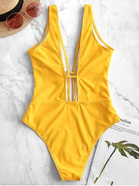 outfit ZAFUL Plunging Padded One-piece Swimsuit - BRIGHT YELLOW XL Mobile