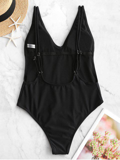 women's ZAFUL Dual Strap Backless One-piece Swimsuit - BLACK S Mobile