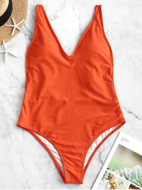 women's ZAFUL Dual Strap Backless One-piece Swimsuit - ORANGE M Mobile