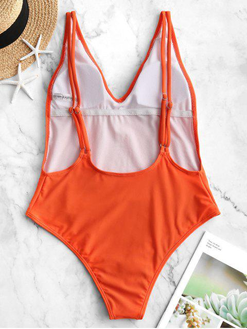 trendy ZAFUL Dual Strap Backless One-piece Swimsuit - ORANGE L Mobile