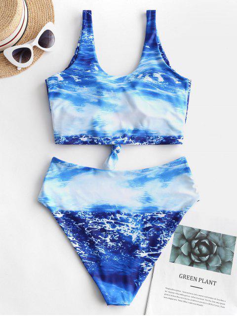 Bañador Tankini con estampado de agua de mar y nudo ZAFUL - Azul Océano  M Mobile
