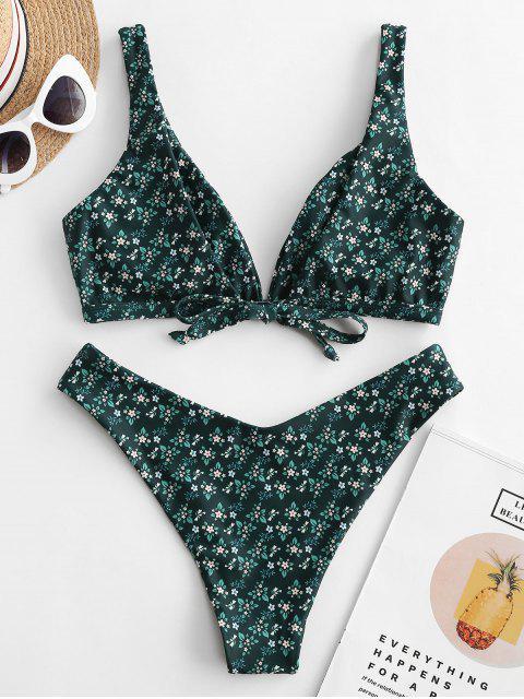 ZAFUL Maillot de Bain Bikini Plongeant Fleuri Imprimé à Jambe Haute - Multi-A S Mobile