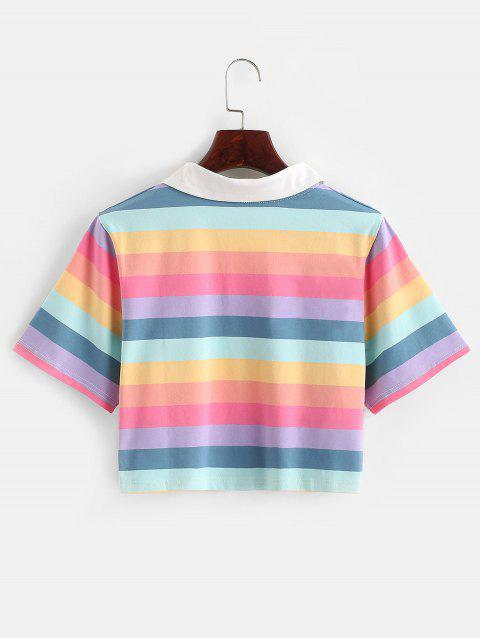 new Rainbow Striped Half Button Crop Tee - MULTI S Mobile