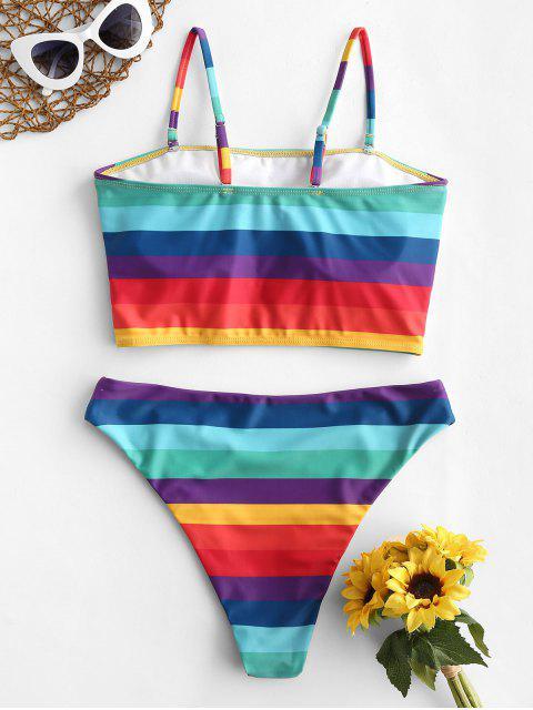 Bañador Tankini reversible de corte alto a rayas arcoíris ZAFUL - Multicolor-A 2XL Mobile