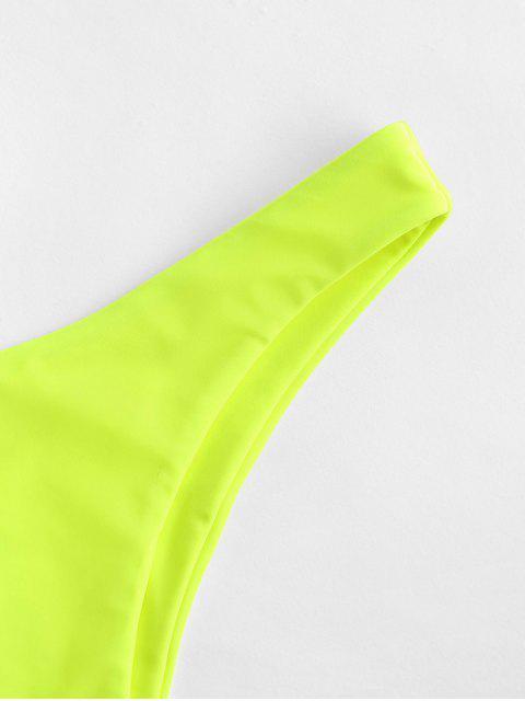 lady ZAFUL Solid High Leg Bikini Bottom - GREEN YELLOW S Mobile