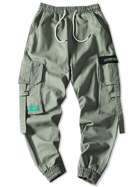 latest Letter Embroidery Multi-Pocket Applique Cargo Jogger Pants - LIGHT GREEN 2XL Mobile