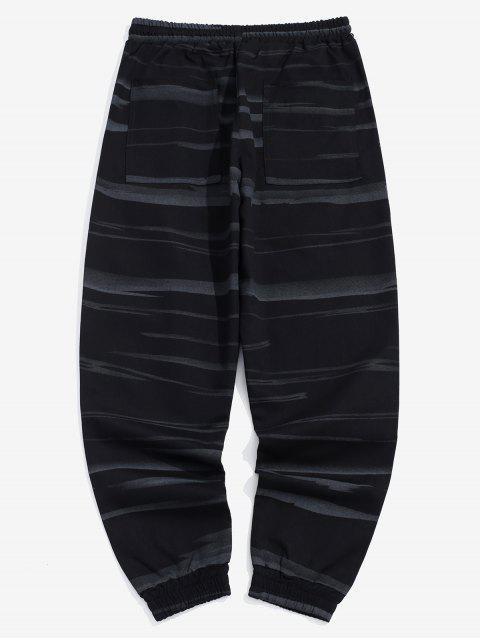 affordable Applique Striped Print Drawstring Casual Jogger Pants - BLACK XL Mobile