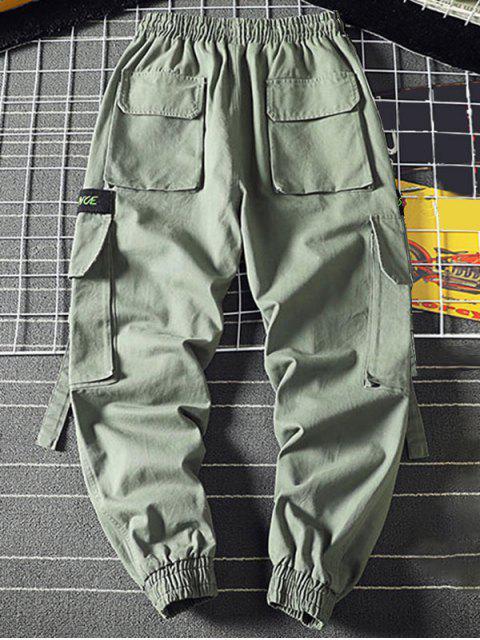 ladies Letter Embroidery Multi-Pocket Applique Cargo Jogger Pants - LIGHT GREEN 4XL Mobile