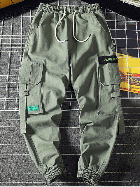 Buchstabe Stickerei Multi Tasche Applique Cargo Jogger Hose - Hellgrün 3XL Mobile