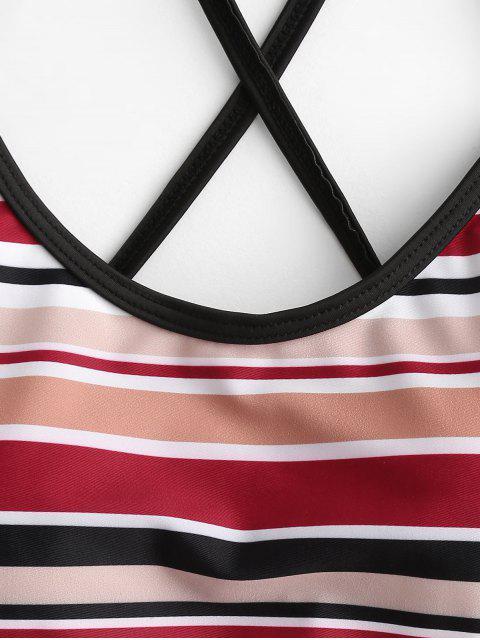 Bañador Tankini de corte alto con cordones cruzados a rayas ZAFUL - Multicolor-A S Mobile