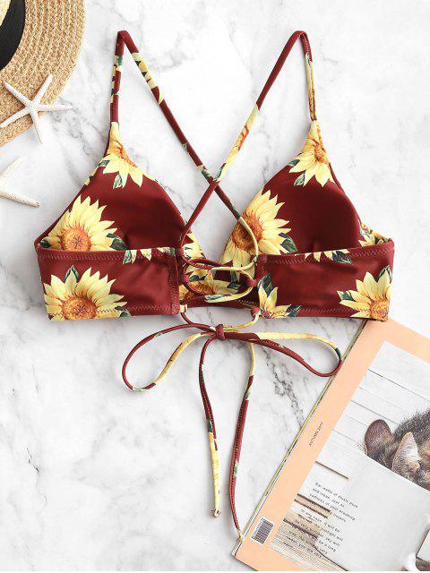 ZAFUL Haut de Bikini Tournesol Croisé à Lacets - Brique Réfractaire M Mobile
