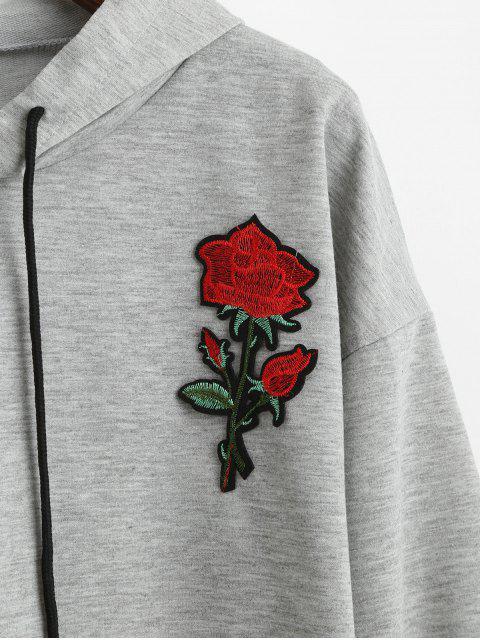 玫瑰貼花原始剪裁肩部連帽衫 - 灰色 S Mobile