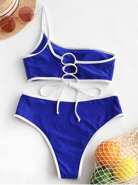 unique ZAFUL Contrast Piping Lace Up One Shoulder Bikini Swimwear - COBALT BLUE S Mobile