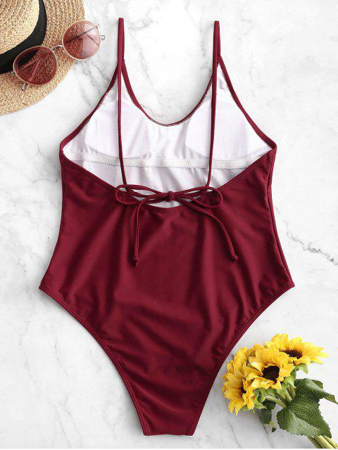 ladies ZAFUL Cami Backless One-piece Swimsuit - RED WINE L Mobile