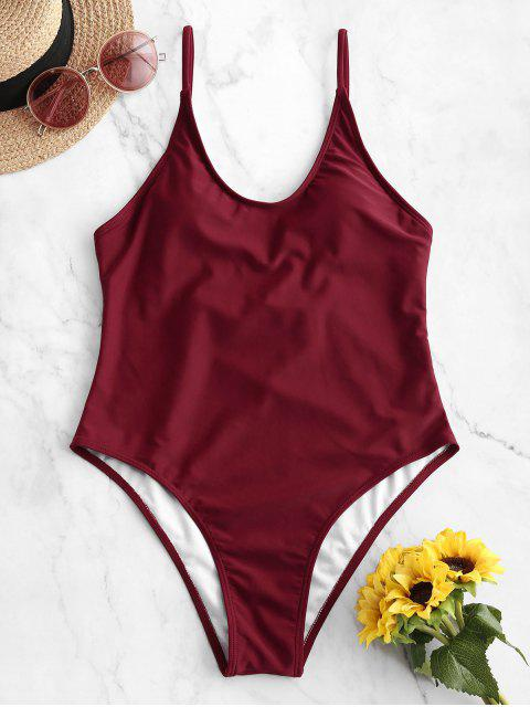 fashion ZAFUL Cami Backless One-piece Swimsuit - RED WINE M Mobile