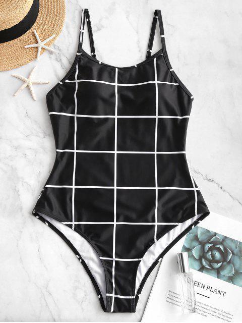 ZAFUL cuadrícula espalda abierta de una sola pieza del traje de baño - Negro XL Mobile