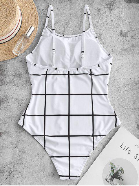 ladies ZAFUL Grid Open Back One-piece Swimsuit - WHITE M Mobile