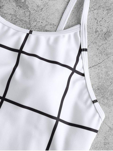 outfit ZAFUL Grid Open Back One-piece Swimsuit - WHITE L Mobile
